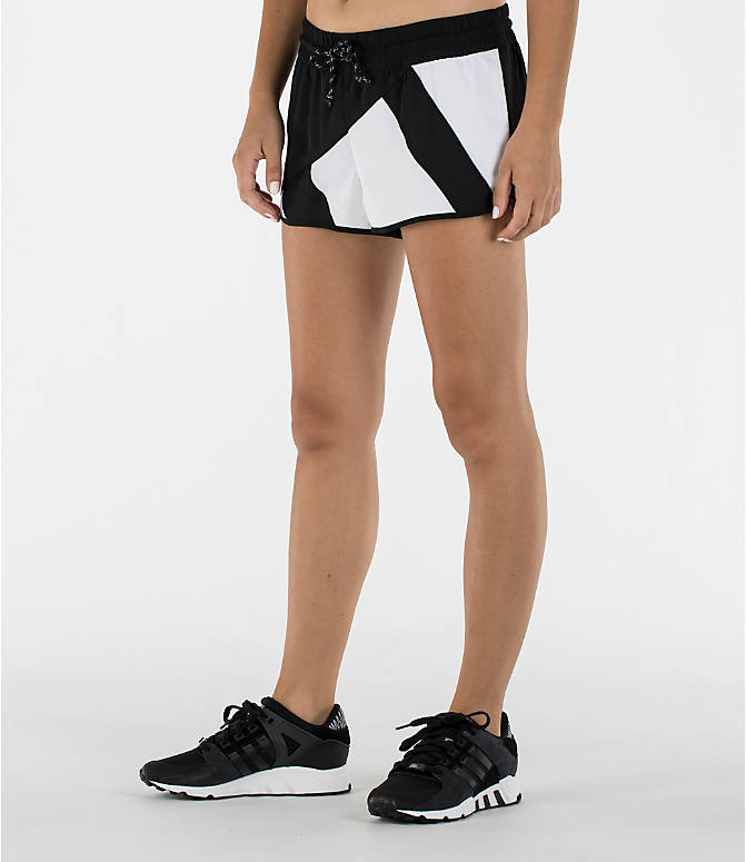 Front Three Quarter view of Women's adidas Originals EQT Shorts in Black/White