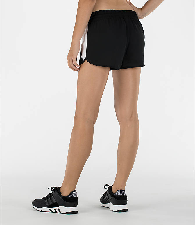 Back Left view of Women's adidas Originals EQT Shorts in Black/White