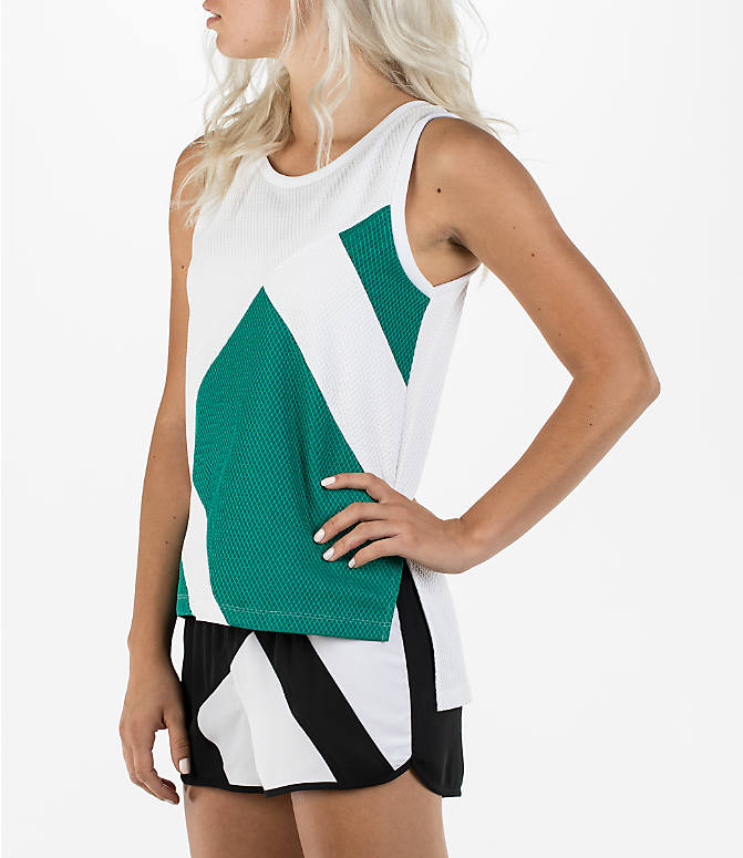 Front Three Quarter view of Women's adidas Originals EQT Tank in White/Sub Green