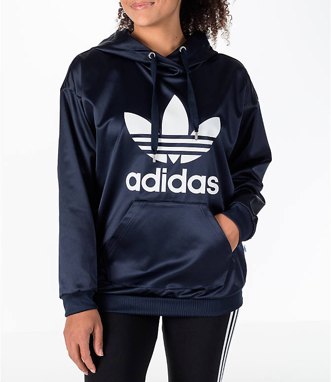 Front view of Women's adidas Originals Trefoil Satin Hoodie in Navy/White