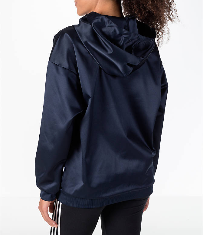 Back Left view of Women's adidas Originals Trefoil Satin Hoodie in Navy/White