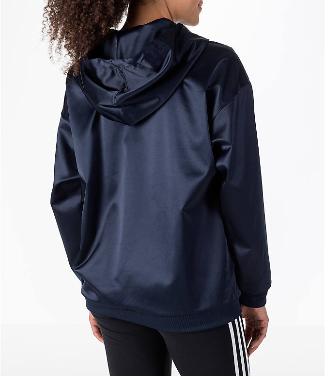 Back Right view of Women's adidas Originals Trefoil Satin Hoodie in Navy/White