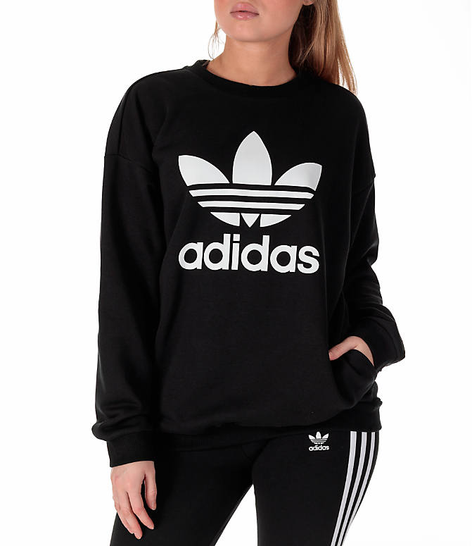 Detail 2 view of Women's adidas Originals Trefoil Crew Sweatshirt in Black/White
