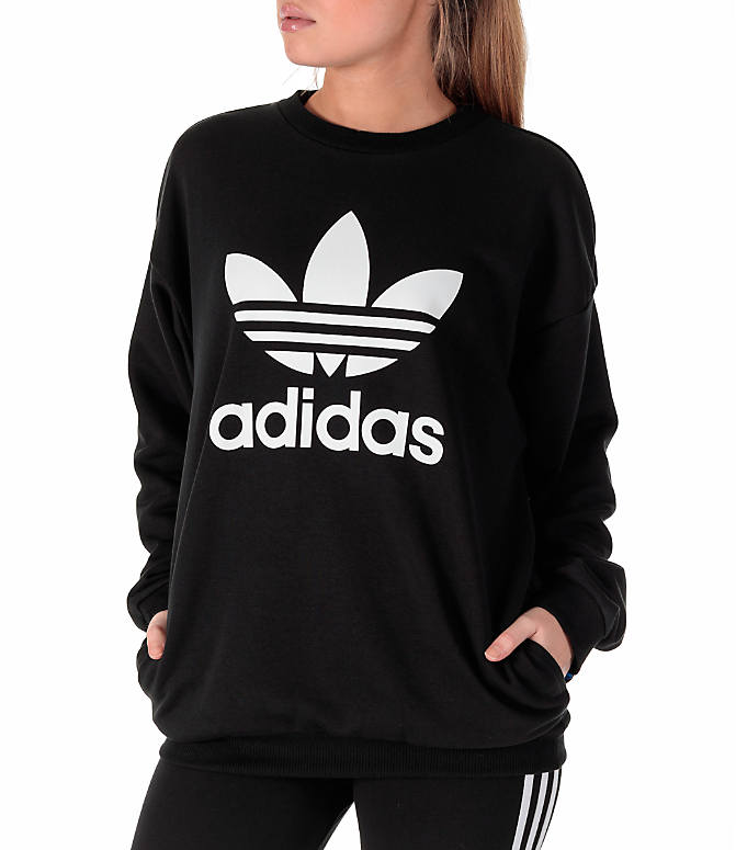 Front view of Women's adidas Originals Trefoil Crew Sweatshirt in Black/White