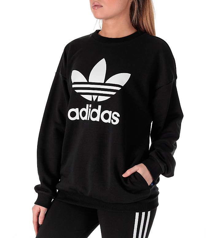Front Three Quarter view of Women's adidas Originals Trefoil Crew Sweatshirt in Black/White