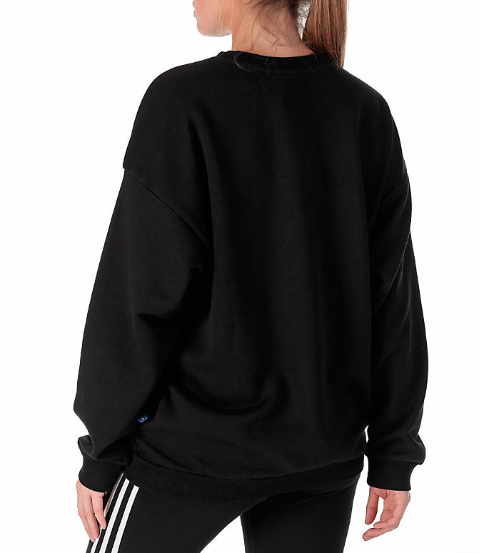 Back Left view of Women's adidas Originals Trefoil Crew Sweatshirt in Black/White