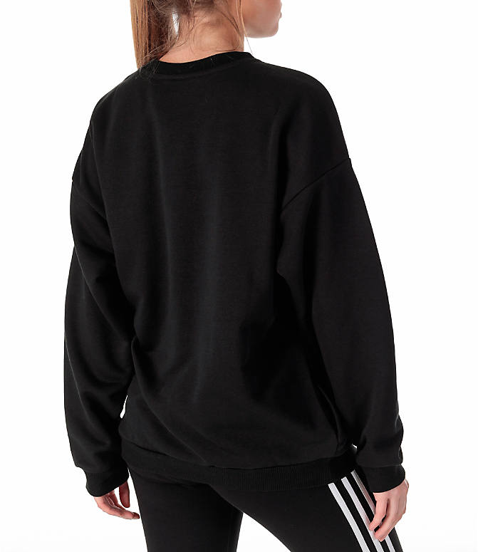 Back Right view of Women's adidas Originals Trefoil Crew Sweatshirt in Black/White