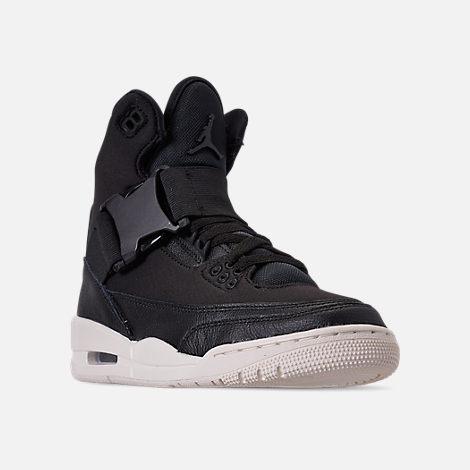 Three Quarter view of Women's Air Jordan Retro 3 Explorer XX Casual Shoes in Black/Black/Sail