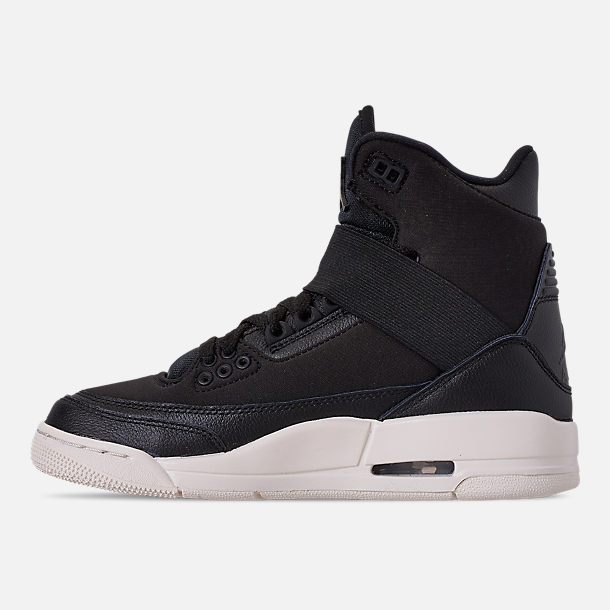 Left view of Women's Air Jordan Retro 3 Explorer XX Casual Shoes in Black/Black/Sail
