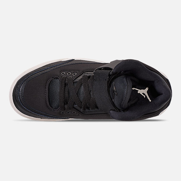 Top view of Women's Air Jordan Retro 3 Explorer XX Casual Shoes in Black/Black/Sail