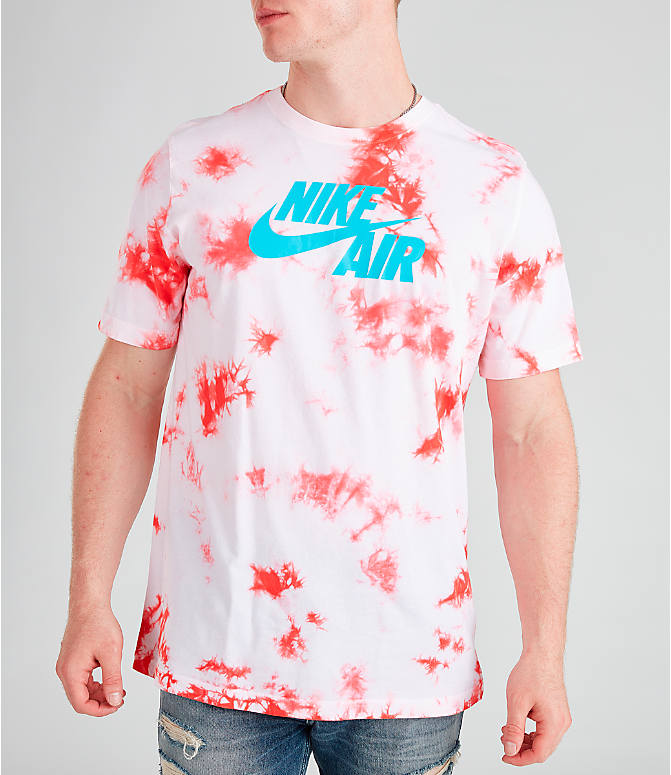 Front view of Men's Nike Air Tie-Dye T-Shirt in White/Ember