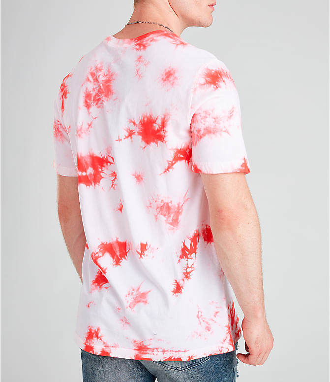 Back Right view of Men's Nike Air Tie-Dye T-Shirt in White/Ember