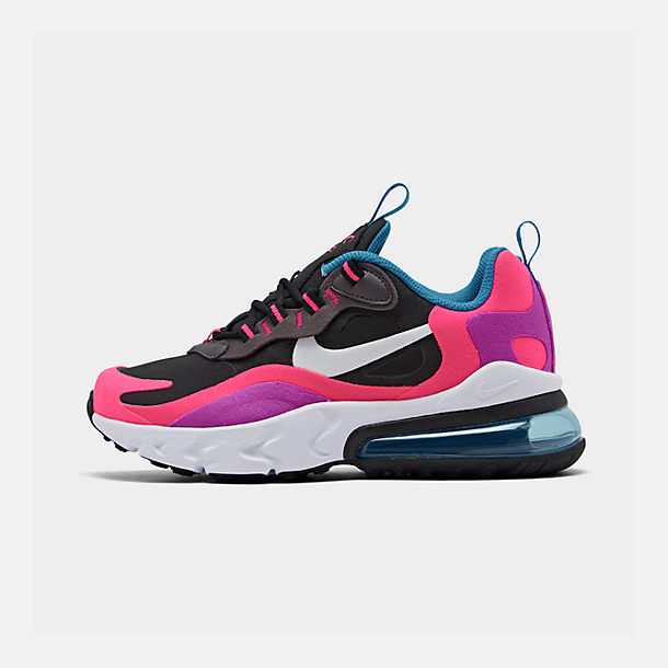 Right view of Girls' Big Kids' Nike Air Max 270 React Casual Shoes in Black/White/Hyper Pink/Vivid Purple