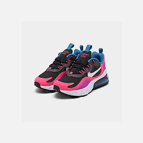 Three Quarter view of Girls' Big Kids' Nike Air Max 270 React Casual Shoes in Black/White/Hyper Pink/Vivid Purple