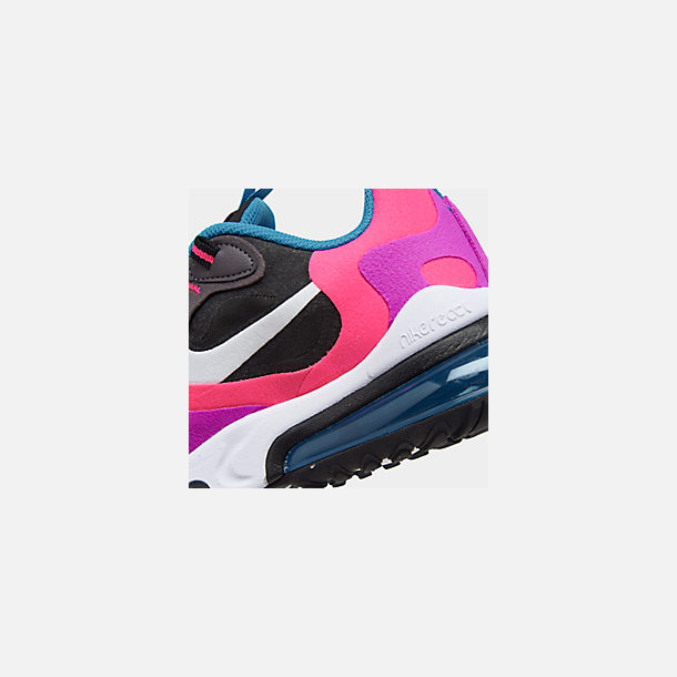 Front view of Girls' Big Kids' Nike Air Max 270 React Casual Shoes in Black/White/Hyper Pink/Vivid Purple