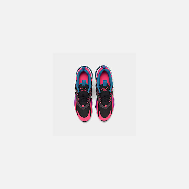 Back view of Girls' Big Kids' Nike Air Max 270 React Casual Shoes in Black/White/Hyper Pink/Vivid Purple