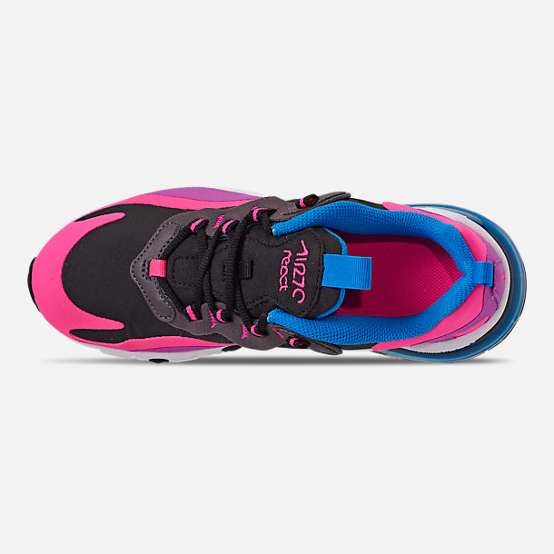 Top view of Girls' Big Kids' Nike Air Max 270 React Casual Shoes in Black/White/Hyper Pink/Vivid Purple