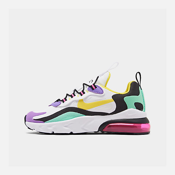 Right view of Boys' Little Kids' Nike Air Max 270 React Casual Shoes in Black/Bicycle Yellow/Teal Tint