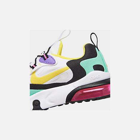 Front view of Boys' Little Kids' Nike Air Max 270 React Casual Shoes in Black/Bicycle Yellow/Teal Tint