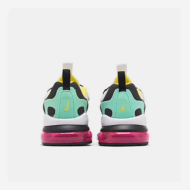 Left view of Boys' Little Kids' Nike Air Max 270 React Casual Shoes in Black/Bicycle Yellow/Teal Tint