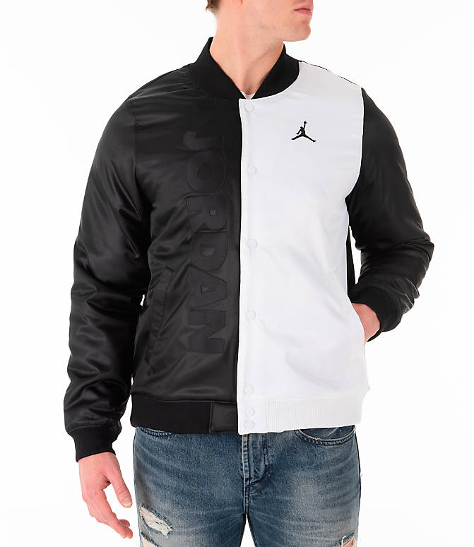 Front view of Men s Jordan Sportswear Legacy AJ11 Bomber Jacket in White f7341e7b2c