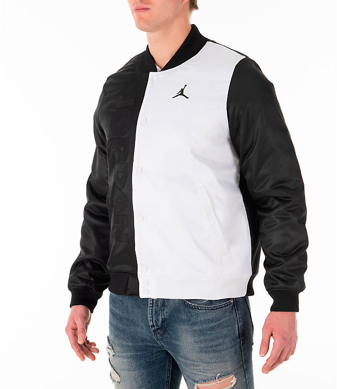 buy popular 88743 9830d Front Three Quarter view of Men s Jordan Sportswear Legacy AJ11 Bomber  Jacket in White