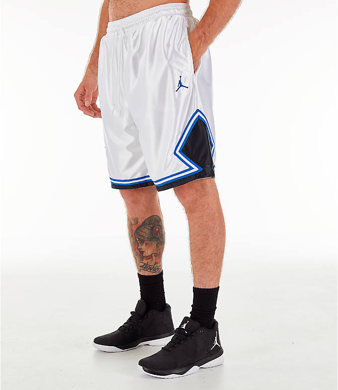 Front Three Quarter view of Men's Air Jordan 10 Legacy Basketball Shorts in White