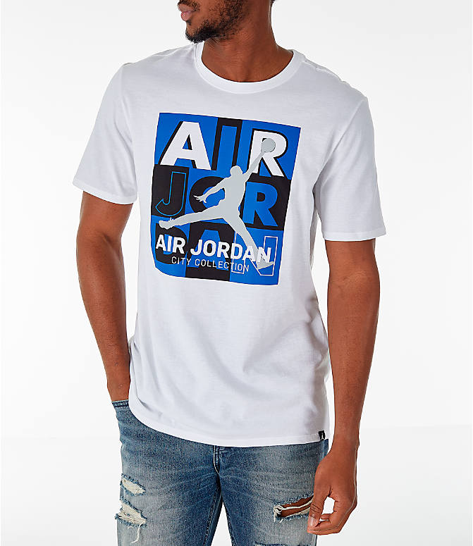 Front view of Men's Air Jordan 10 Retro Legacy T-Shirt in White