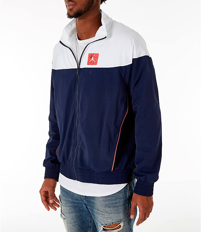 Front Three Quarter view of Men's Air Jordan Tinker Legacy Starter Jacket in White/Black