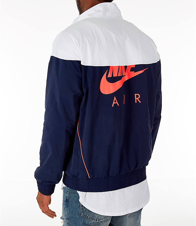 Back Left view of Men's Air Jordan Tinker Legacy Starter Jacket in White/Black