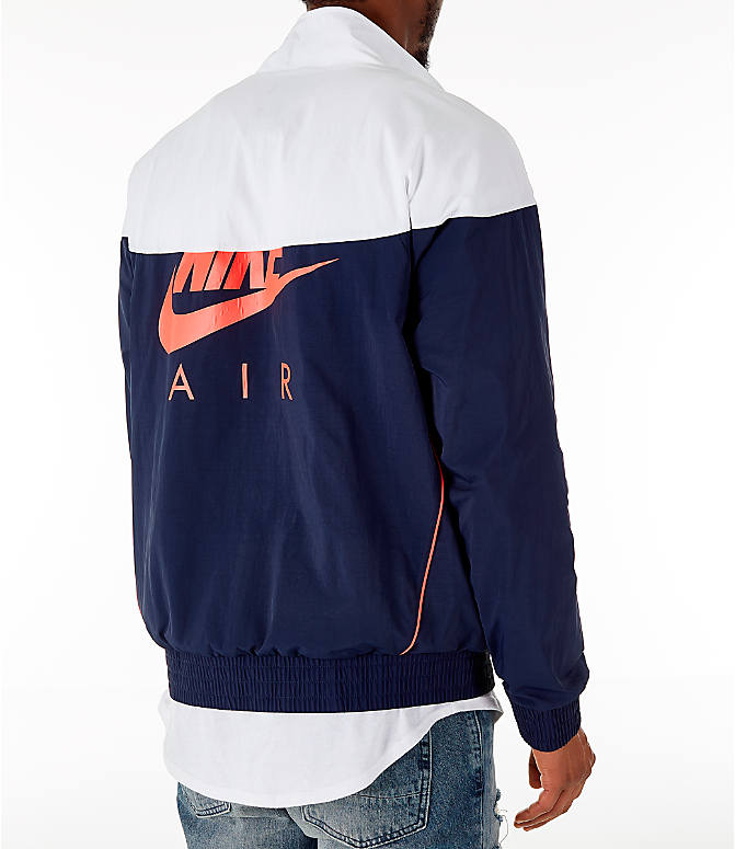 Back Right view of Men's Air Jordan Tinker Legacy Starter Jacket in White/Black