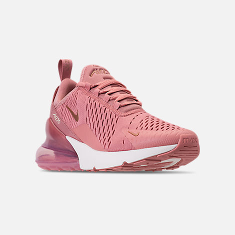 Three Quarter view of Women's Nike Air Max 270 Casual Shoes in Rust Pink/Metallic Red Bronze/Sail