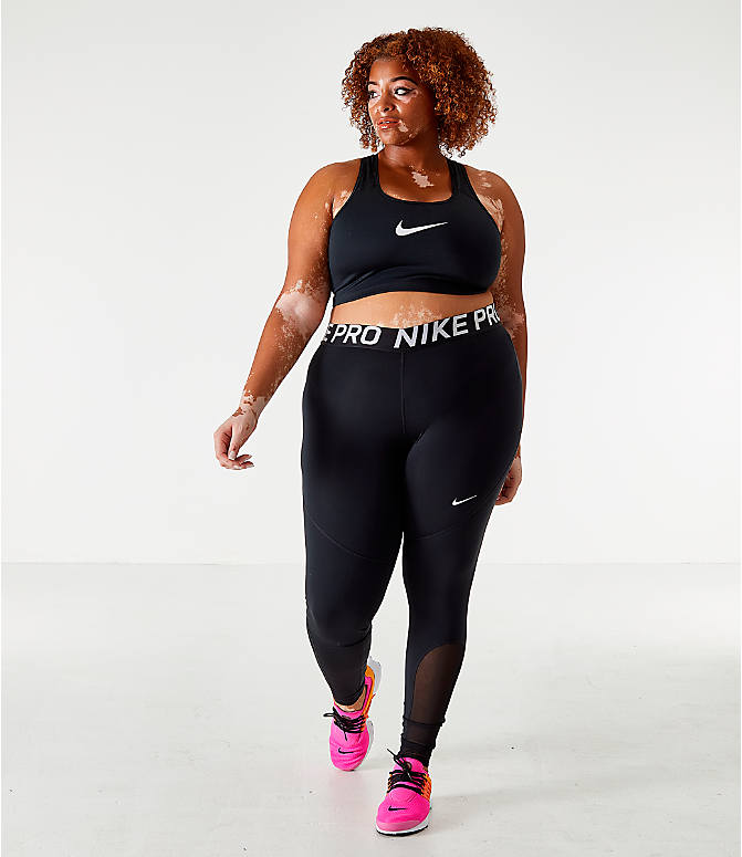 Front Three Quarter view of Women's Nike Swoosh Medium-Support Sports Bra - Plus Size in Black/White