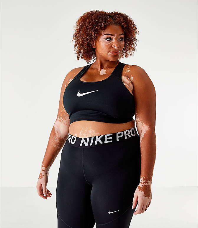 Back Left view of Women's Nike Swoosh Medium-Support Sports Bra - Plus Size in Black/White