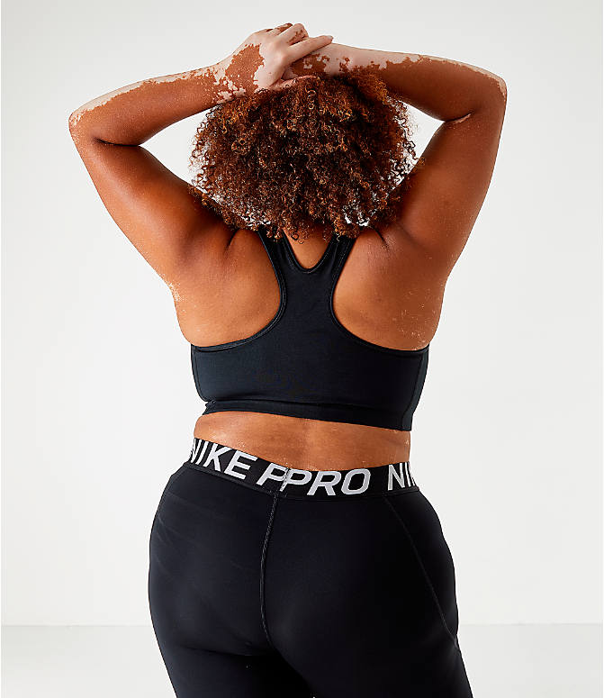 Back Right view of Women's Nike Swoosh Medium-Support Sports Bra - Plus Size in Black/White