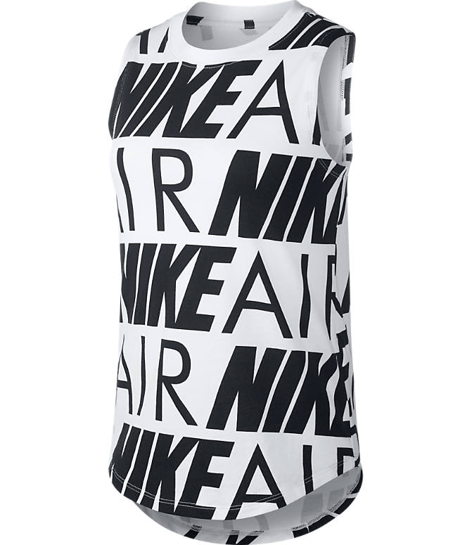 Front view of Girls' Nike Air Tank in White/Black