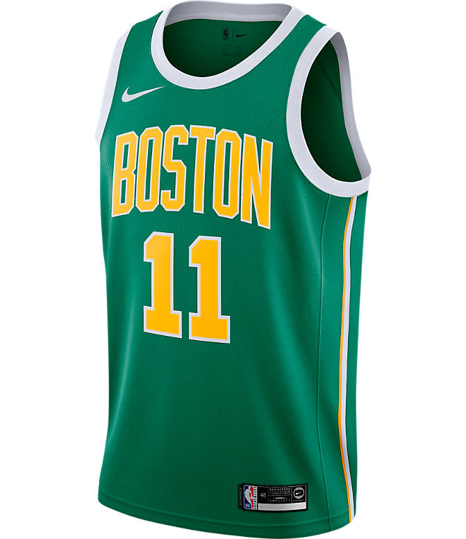 Back view of Men's Nike Boston Celtics NBA Kyrie Irving Earned Edition Swingman Jersey in Clover
