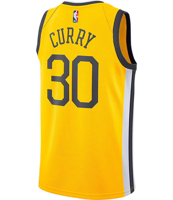 Front view of Men's Nike Golden State Warriors NBA Stephen Curry Earned Edition Swingman Jersey in Amarillo