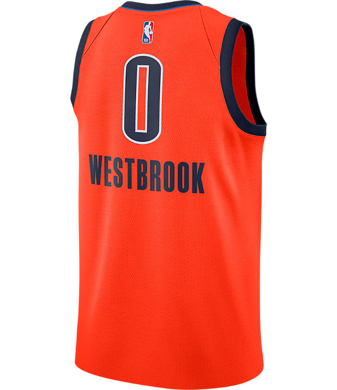 Front view of Men's Nike Oklahoma City Thunder NBA Russel Westbrook Earned Edition Swingman Jersey in Orange