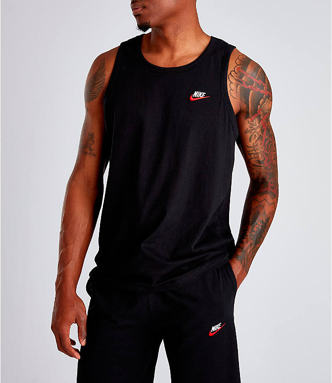Front Three Quarter view of Men's Nike Sportswear Futura Tank in Black/White/Red