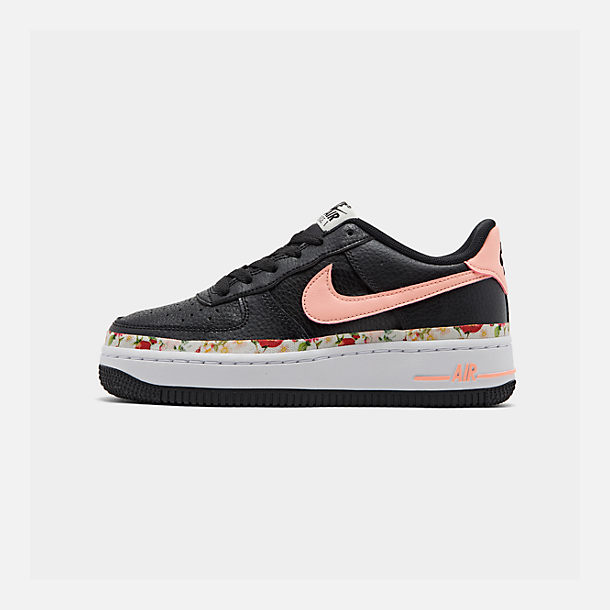 Right view of Girls' Big Kids' Nike Air Force 1 Vintage Floral Casual Shoes in Black/Pink Tint/White/Pale Ivory