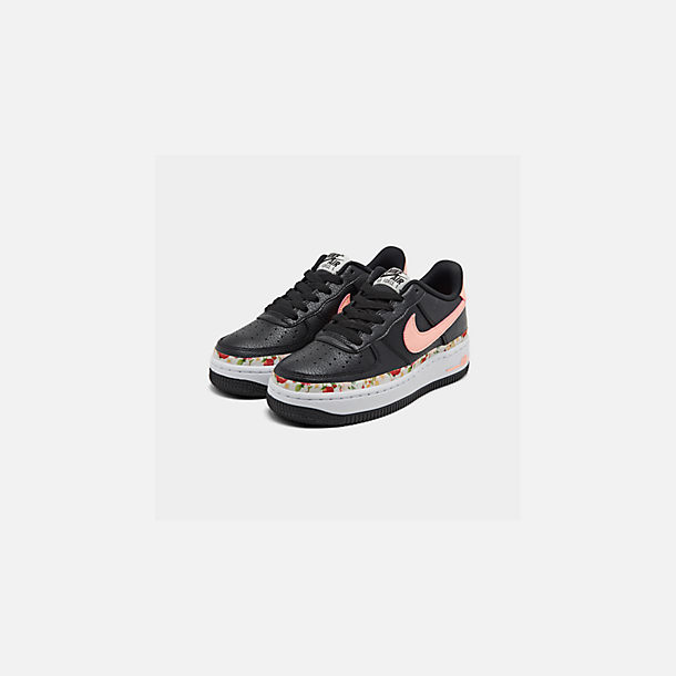Three Quarter view of Girls' Big Kids' Nike Air Force 1 Vintage Floral Casual Shoes in Black/Pink Tint/White/Pale Ivory