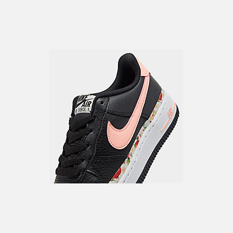 Front view of Girls' Big Kids' Nike Air Force 1 Vintage Floral Casual Shoes in Black/Pink Tint/White/Pale Ivory