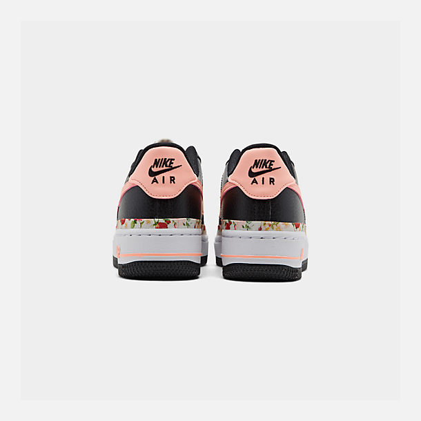 Left view of Girls' Big Kids' Nike Air Force 1 Vintage Floral Casual Shoes in Black/Pink Tint/White/Pale Ivory
