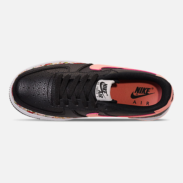 Top view of Girls' Big Kids' Nike Air Force 1 Vintage Floral Casual Shoes in Black/Pink Tint/White/Pale Ivory