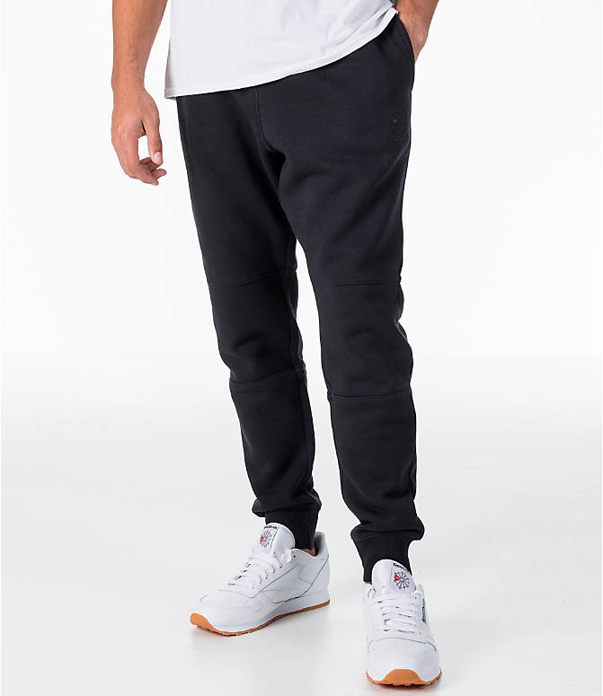Front view of Men's Reebok Classic Cuffed Jogger Pants in Black