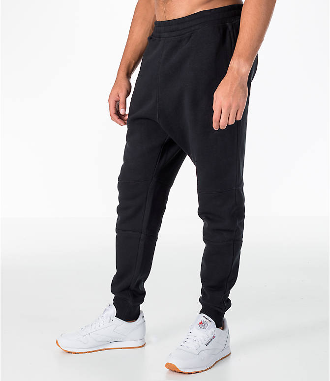 Front Three Quarter view of Men's Reebok Classic Cuffed Jogger Pants in Black
