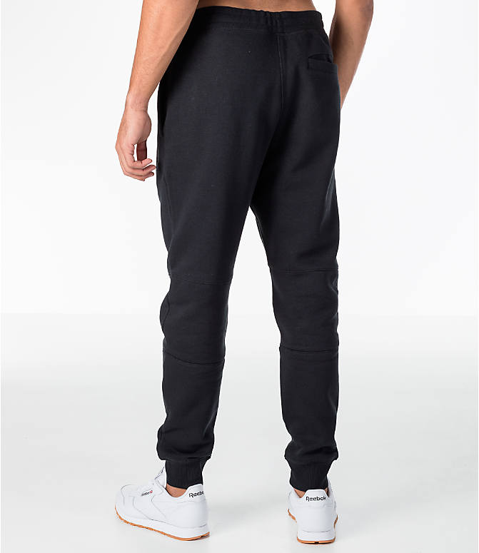 Back Left view of Men's Reebok Classic Cuffed Jogger Pants in Black