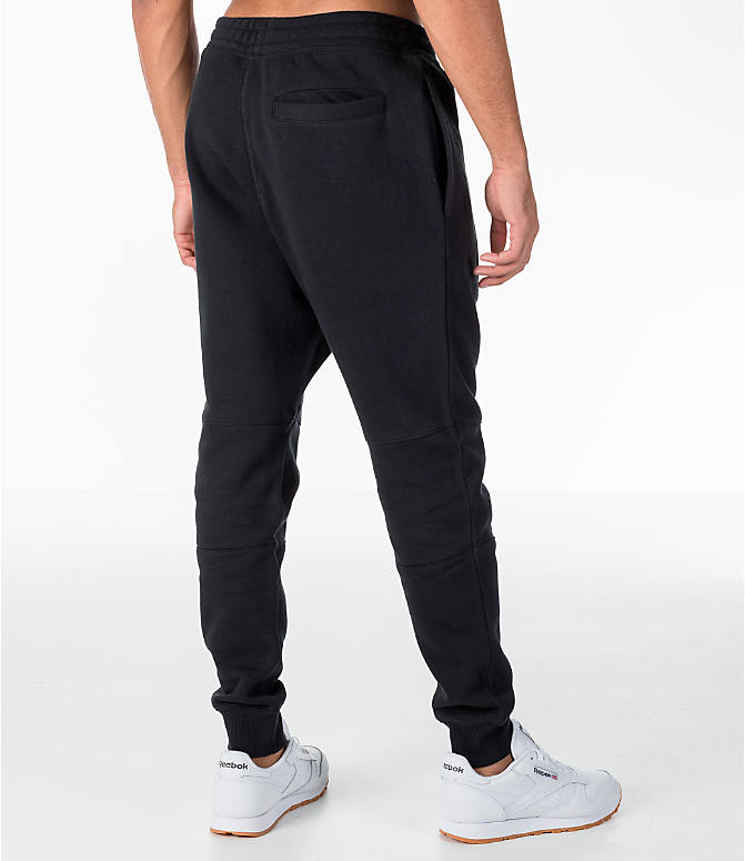 Back Right view of Men's Reebok Classic Cuffed Jogger Pants in Black