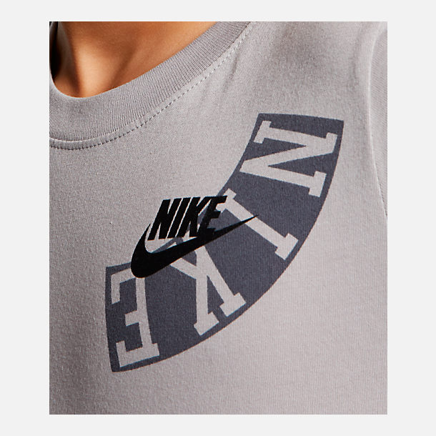 Alternate view of Boys' Nike Sportswear Allover Print Logo T-Shirt in Atmosphere Grey
